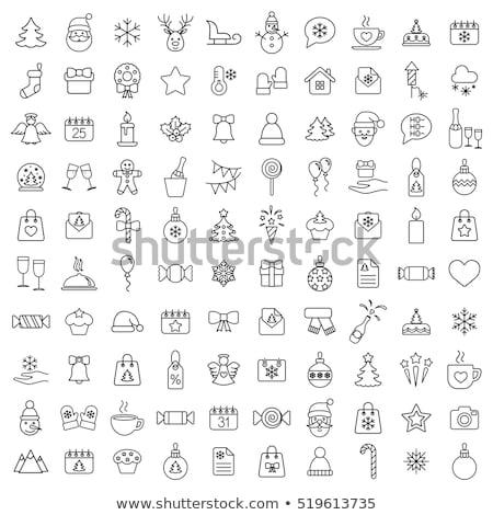 Noel · hat · simgeler · siyah · stok · vektör - stok fotoğraf © punsayaporn
