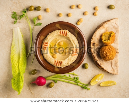 hummus houmous middle eastern vegetarian healthy snack food Stock photo © travelphotography
