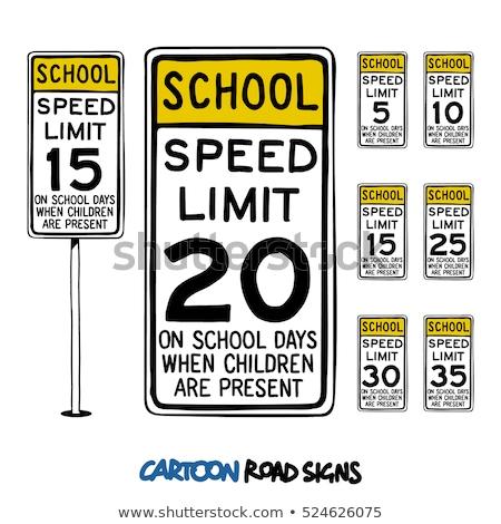 School 25 mph teken witte auto Stockfoto © njnightsky