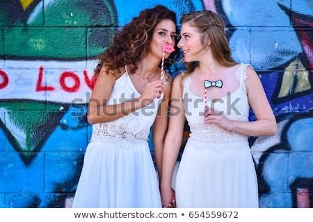 lezbiyen · el · gökkuşağı · eşcinsel · gurur · bayrak - stok fotoğraf © lironpeer