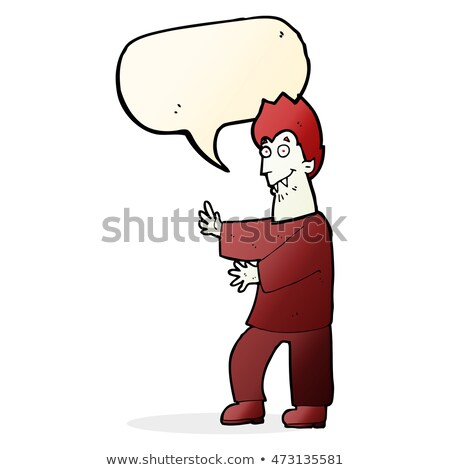 cartoon vampire waving hands with speech bubble Stock photo © lineartestpilot