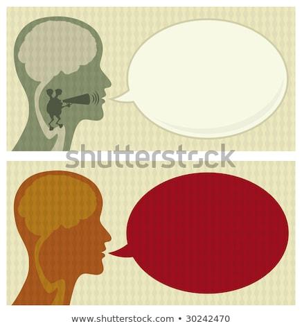Cartoon Alien Head With Speech Bubble ストックフォト © Bisams