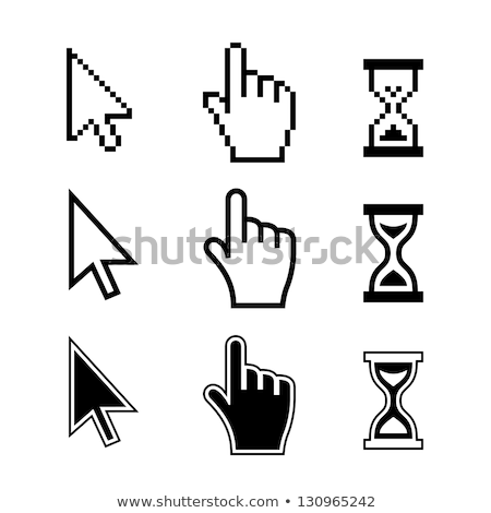 Pixel hand cursor icon on white background. Stock photo © tkacchuk