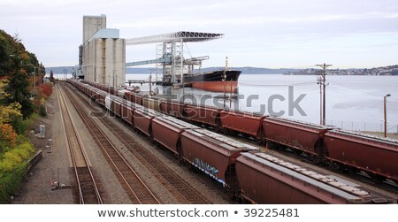 Grain from silos being loaded onto cargo ship on conveyor belt Stock photo © sarymsakov
