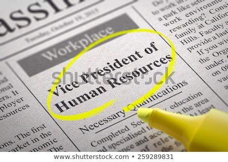 Vicio presidente humanos recursos periódico búsqueda de empleo Foto stock © tashatuvango