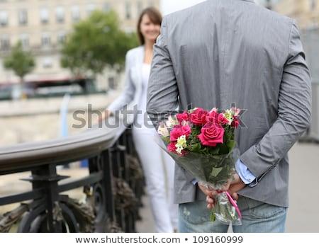 adam · hazır · vermek · çiçekler · kız · arkadaş · park - stok fotoğraf © Witthaya
