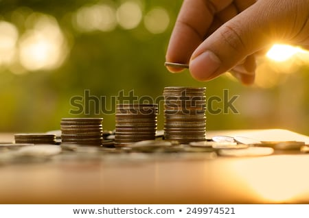 stack of coins in hand Stock photo © mizar_21984