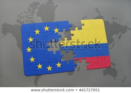 ヨーロッパの 組合 コロンビア フラグ パズル 孤立した ストックフォト © Istanbul2009