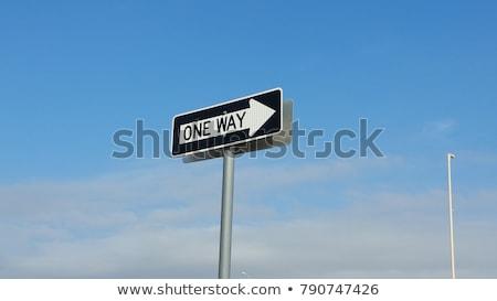 Een manier verkeersbord pijl wijzend richting Stockfoto © iqoncept