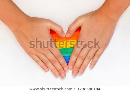 Stok fotoğraf: Lezbiyen · el · gökkuşağı · eşcinsel · gurur · bayrak