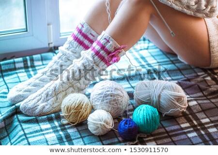 Largo femenino piernas de punto calcetines blanco Foto stock © Nobilior