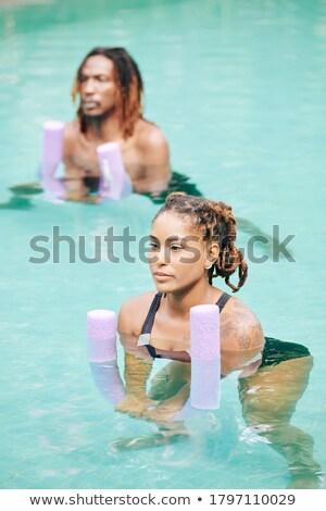 víz · aerobik · öt · színes · súlyzó · súlyok - stock fotó © madelaide