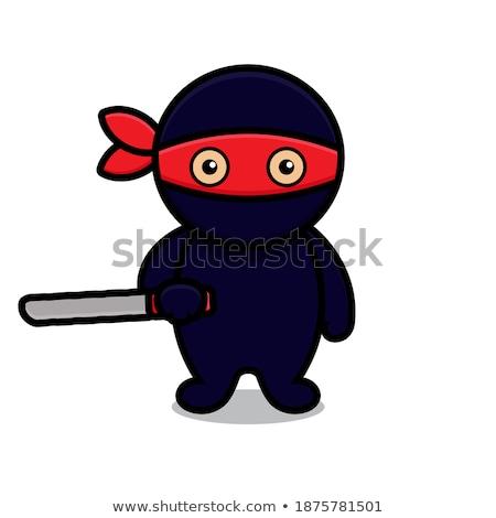 Foto stock: Ninja · faca · isolado · branco · homem · metal