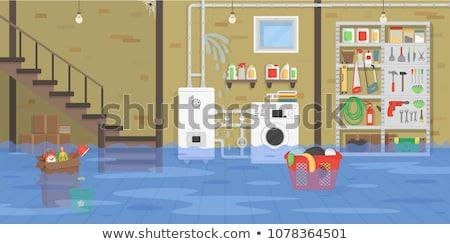 Brick house washes flood Stock photo © orensila