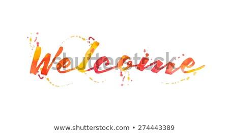 üdvözlet · szó · festett · ecset · háttér · művészet - stock fotó © fuzzbones0