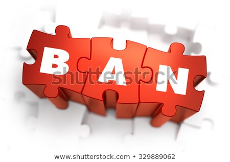 Ban - White Word on Red Puzzles. Stock photo © tashatuvango