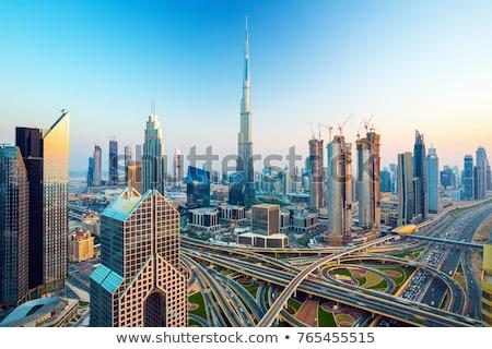 Dubai sziluett Egyesült Arab Emírségek sivatag város égbolt Stock fotó © H2O