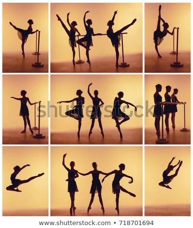 小さな ストレッチング バー シルエット 青 ダンス ストックフォト © master1305