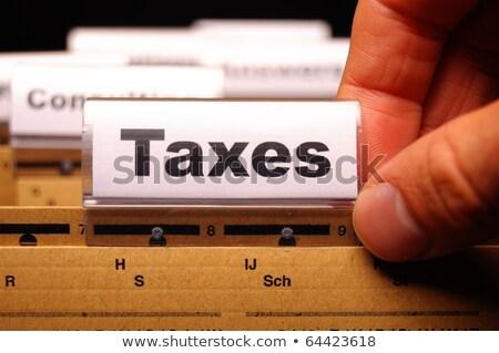 dossier · impôt · déclaration · rouge · texte · blanche - photo stock © tashatuvango
