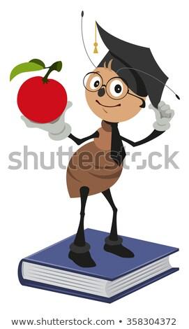 Ant Lehrer stehen Pfund halten roten Apfel Stock foto © orensila