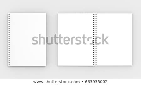 Stockfoto: Notepad · spiraal · omhoog · houten · sjabloon · business