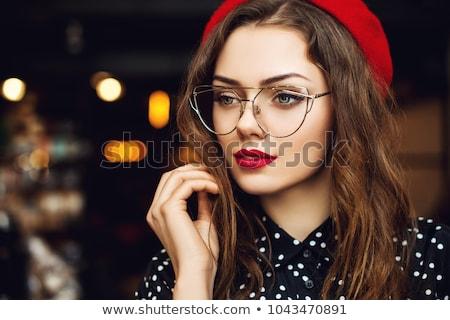 Közelkép gyönyörű nő hosszú haj visel piros blúz Stock fotó © feedough
