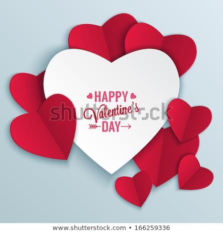 valentin · nap · kártya · piros · keret · szív · 14 - stock fotó © barbaliss