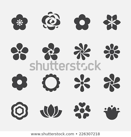 蓮 · ロゴ · 定型化された · アイコン · バラ - ストックフォト © ggs