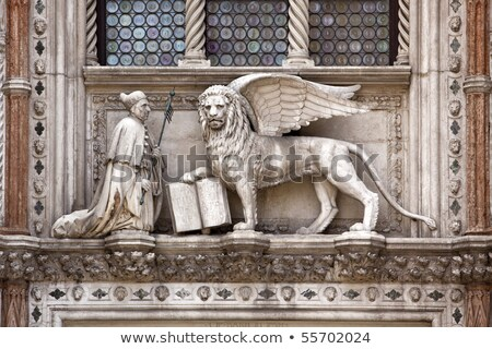 statues in front of the Doges Palace (Palazzo ducale), St Mark's Stock photo © meinzahn