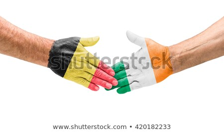 Foto stock: Fútbol · equipos · apretón · de · manos · Bélgica · Irlanda · mano
