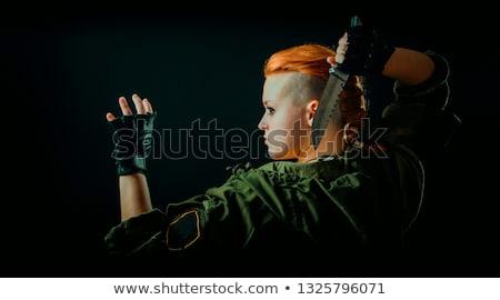 Harcos nő harc kés portré naplemente Stock fotó © MilanMarkovic78