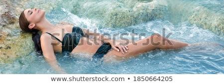 Barna hajú szépség elvesz fürdőkád vízesés nő Stock fotó © konradbak