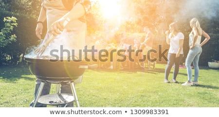 Churrasco verão fim de semana fogo jardim verde Foto stock © zurijeta