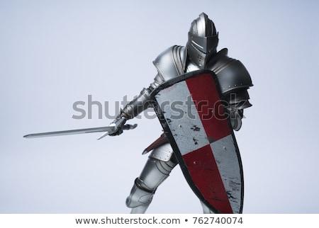 Kask kalkan kılıç şövalye oyuncaklar yalan Stok fotoğraf © EFischen