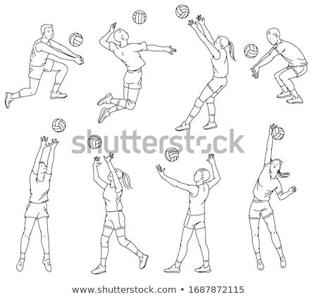 praia · voleibol · jogador · asiático · sorridente - foto stock © rastudio