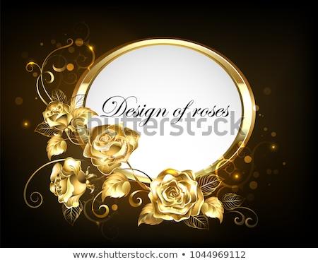 овальный кадр роз золото красные розы бирюзовый Сток-фото © blackmoon979