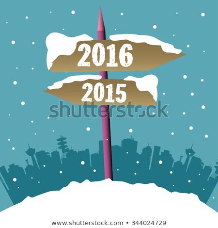 2016 napisany śniegu nowy rok szczęśliwy krajobraz Zdjęcia stock © Oakozhan