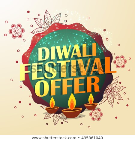 diwali festival offer with beautiful decoration and three diyas Stock photo © SArts