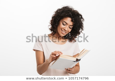 Isolated Adult Female Person Reading Book on White Stock photo © robuart