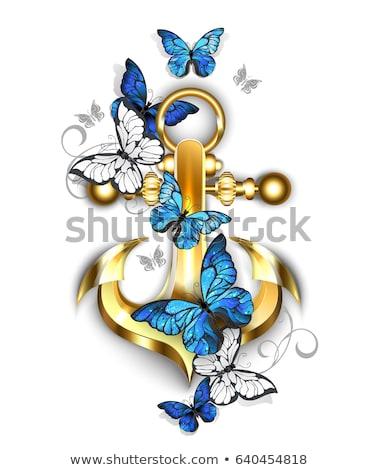 Anchor with butterflies morpho Stock photo © blackmoon979