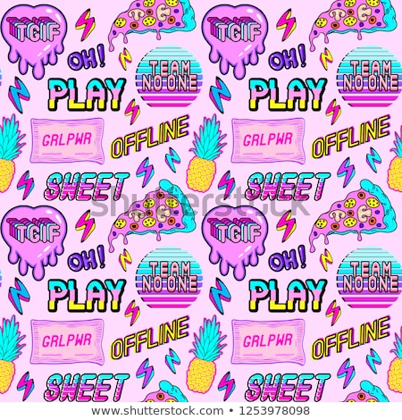 Seamless pattern with comic style phrases. Pop art style quotes. Stock photo © masay256
