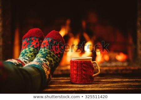 Seizoen- ontspannen hot koffie gebreid Stockfoto © Lana_M
