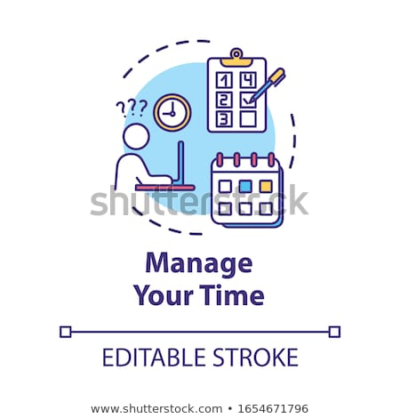 Szervez dolgozik idő üzlet szövegbuborék rajz Stock fotó © tashatuvango