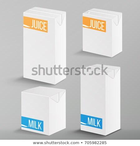 blanche · paquet · jus · isolé · papier · boîte - photo stock © pikepicture
