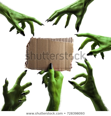 zombie monster hand holding happy halloween sign stock photo © krisdog