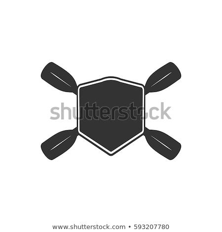 Roeien badge sjabloon gewoonte kajakken logo Stockfoto © JeksonGraphics