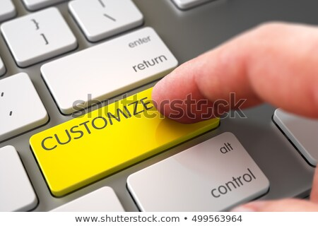 Hand Finger Press Customize Button. 3D. Stock photo © tashatuvango