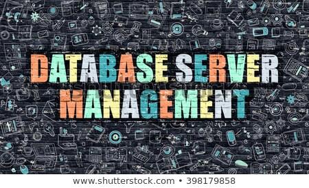 Database server beheer donkere muur doodle Stockfoto © tashatuvango