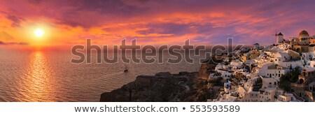 表示 日没 サントリーニ 太陽 風景 背景 ストックフォト © vwalakte