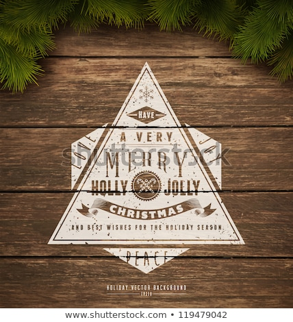 vector merry christmas illustration on vintage wood background with typography and holiday elements stock photo © articular